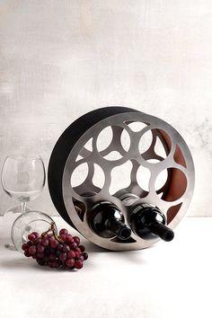 Industrial wine rack , Modern wine rack , contemporary wine storage, stainless steel wine bottle holder