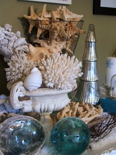 Christmas tablescape with shells...
