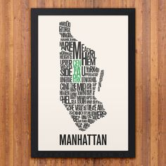 Manhattan New York Neighborhood Typography City Map Print (12 x 18)    This typography map features 47 neighborhoods, outlining the city of