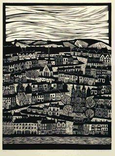 'Corcaigh' by Australian artist & printmaker Anita Laurence (b.1963). Linocut, edition of 40, 56 x 42 cm. via the artist's site