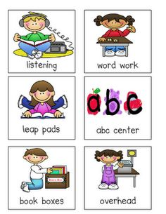 Literacy centers signs