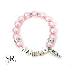 Namensarmbänder - & Ketten - Namensarmband Kinder Einschulung Geschenk rosa Engelsflügel Herz Namensband Kinder - ein Designerstück von sweetrosy bei DaWanda