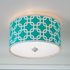 Geometric Fretwork Drum Shade Ceiling Light - 8 colors