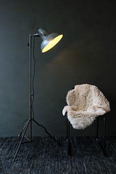 Industrial Film Floor Lamp with Grey Shade - Floor Lights - Lighting