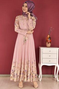 Modamerve Dijital Baski Desen Cicekli Elbise Pudra Eig 4502 Cicekli Elbise Elbiseler Moda Stilleri