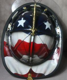 Custom Leather Fire Helmet-Firefighters LOOK!!!-Stars and Stripes