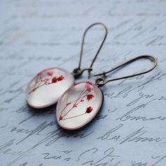 Real Flower Earrings - Red Flower Antique Brass Dangle Resin Earrings Botanical Red Baby's Breath. $22,00, via Etsy.