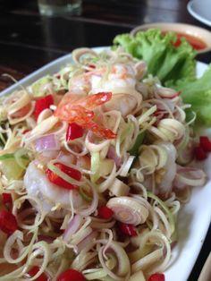 lemongrass spicy salad with shrimp.