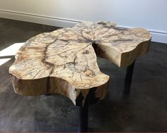 """Beautiful and rare {spalted} sugar maple coffee table - Handcrafted in Southwestern Ontario - Custom designed solid hand welded base and legs. - epoxy filled cracks. - Finished with satin lacquer and wet sanded smooth as glass  34""""L x 24""""w x 16"""" h Table weighs approx 75 lbs.  Wood slab is 3 3/4"""" thick  This amazing spalted sugar maple piece, was salvaged from a tree that had a base circumference of between 15 and 18 ft.  https://www.etsy.com/ca/shop/GreatScottTradingCo"""