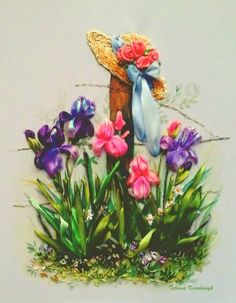 """picture """"Irises"""",  Silk ribbon embroidery, roses, ribbonwork by SilkRibbonembroidery on Etsy"""