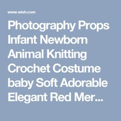 Photography Props Infant Newborn Animal Knitting Crochet Costume baby Soft Adorable Elegant Red Mermaid Modeling Clothes (Color: Red)