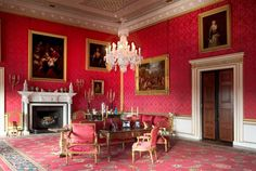 Ragley Hall - Warwickshire the red drawing room  remains decorated and furnished as it was by James Wyatt in 1780.