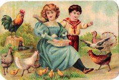 Oblaten Glanzbild scrap die cut chromo Kind child Hühner füttern chicks chocolat at.picclick.com