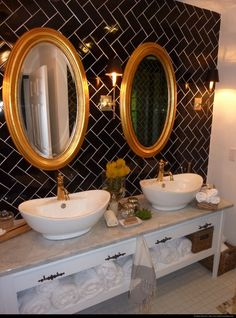black, white, and gold bathroom