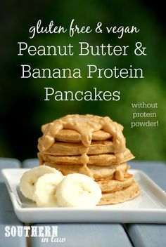 These Healthy Peanut Butter and Banana Protein Pancakes are the perfect way to kick start your morning! They are gluten free, vegan, low fat, refined sugar free, clean eating friendly and made without ANY protein powder! Recipe uses Peanut Flour (with substitutions listed)