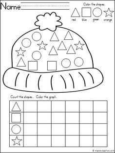 is a winter hat theme graphing shapes activity for your Kindergarten ...