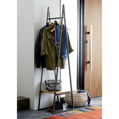 No coat closet? No worry. Our minimalist butler is on duty in a minimum of space. Handcrafted iron frame architects a sleek spot to hang coats with a mango wood shelf below to leverage shoes and bags. butler stand is a exclusive. Steel Shelving, Wood Shelves, Wall Mounted Shelves, Loft Furniture, Reclaimed Furniture, Furniture Ideas, Furniture Dolly, Furniture Design, Modern Serving Trays