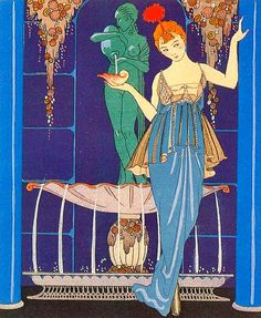 Vintage deco illustration - Evening Dress by Paquin. Artist George Barbier