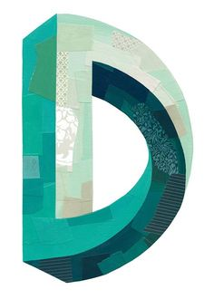 """Letter """"D"""" - by Darren Booth; using the Penrose effect; for 'The Type Fight' on 10/24/13 ...two artists create a typographical design for the same letter which are displayed side by side..."""