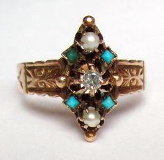 BEAUTIFUL Antique Victorian Diamond by magwildwoodscloset on Etsy
