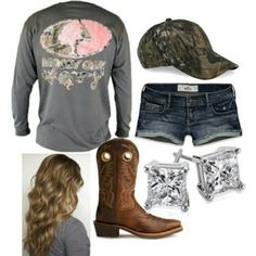 Mossy oak, shorts, diamonds and camouflage hat ... beautiful!