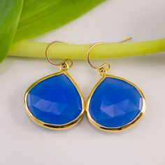 Deep Blue Chalcedony Earrings - Bezel set earrings - Gemstone earrings - gold earrings - something blue. $72.00, via Etsy.