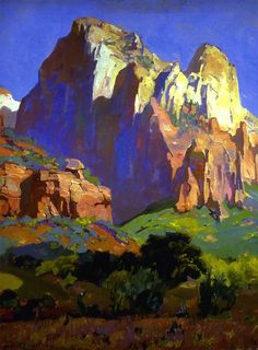 Desert Giants, Utah  Franz Bischoff Studies in pastels and RGB color 1928 -  oil on canvas - 30 x 24 in
