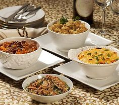 St. Clair Side Dishes - a must for any holiday: southern cornbread, green bean casserole, au gratin potato casserole and sweet potato casserole. Yum! @QVC.com