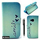M9 Case,HTC One M9 Wallet Case, M-Zebra Printed Series Light Color Design PU Leather Stand Wallet Type Magnet Design Flip Case Cover For HTC One M9, with Screen Protectors+Stylus+Cleaning Cloth (Blue)