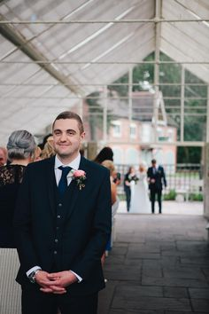 Groom Waiting For His Bride at the Ceremony - Documentary Wedding Photography in SomersetPhotography