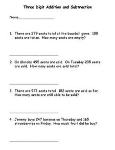 3 Digit Addition and Subtraction Word Problems Free Printable Math Worksheets, Addition And Subtraction Worksheets, Math Subtraction, Kindergarten Math Worksheets, Kindergarten Addition, Math Activities, Maths, Word Problems 3rd Grade, 3rd Grade Words