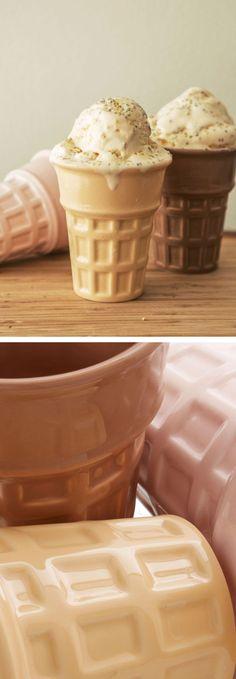 Waffle ceramic ice cream set
