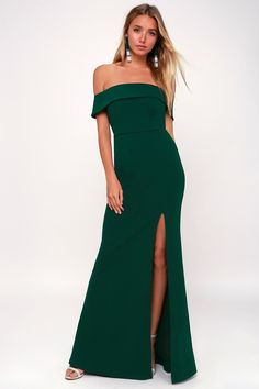 63a7f0e5c91a Aveline Forest Green Off-the-Shoulder Maxi Dress