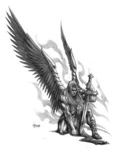 Severe grey-ink angel warrior with a sword tattoo design Angel Warrior Tattoo, Warrior Tattoos, Angel Tattoo Men, Archangel Michael Tattoo, St Michael Tattoo, Tattoo Guerreiro, Holy Tattoos, Full Sleeve Tattoo Design, Tattoo Ideas