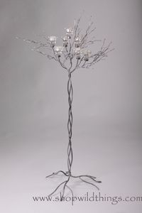 """Metal Candle Tree (SILVER) W/ Clear Beads - 7 cups 60""""  Tall"""