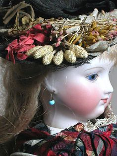 Antique Unmarked Bisque Head French Fashion Doll Original Clothes, Boots, Hat 18""