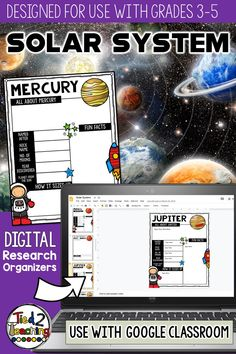 Organizing research on our planets can sometimes be a challenge for students. Use these SOLAR SYSTEM organizers to help gather, organize, and record information and key details about our corner of the universe for your project or report!These digital SOLAR SYSTEM research organizers are the  perfect tool to help your students organize their research for their project or report on the planets, Moon or the Sun.