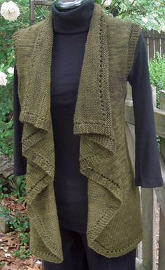 Falling Water Vest pattern from Yarn Barn (or Rav). Want to make something similar on the KM with a lighter yarn for spring layering.