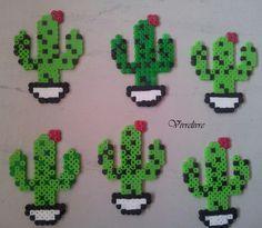 Diy Perler Beads, Pearler Beads, Fuse Beads, Melty Bead Patterns, Hama Beads Patterns, Beading Patterns, Deco Cactus, Modele Pixel Art, Motifs Perler