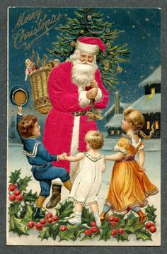Silk Clothed Santa w/ Children Dancing Toys Doll Christmas Post Card  #Christmas