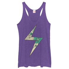 Carol Danvers has the ability to shoot energy blasts from her fingers and it inspired the lightning bolt from her superhero costume on the Marvel Lightning Bolt Ms. Marvel Floral Print Heather Purple Racerback Tank Top. This soft purple Marvel shirt