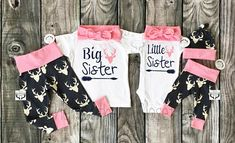 Big Sister Little Sister OutfitsGirl Coming Home Outfit Big Sister Little Sister, Little Sisters, Matching Sister Outfits, Toddler Clothing Stores, Twin Baby Girls, Girls Coming Home Outfit, Sister Shirts, Country Outfits, Pink Girl