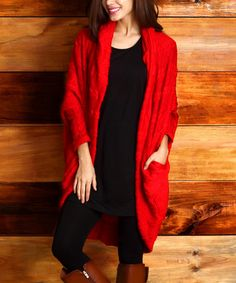 Another great find on #zulily! Red Cable Knit Convertible Cardigan by Reborn Collection #zulilyfinds