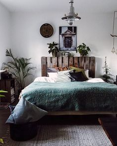 my scandinavian home: A Charming Danish Home on a Shoestring Budget - pallet headboard.