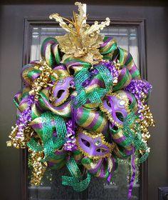 Mardi Gras Wreath, Fat Tuesday Wreath, Deco Mesh Wreaths, Mardi Gras Decorations, Mardi Gras Mask Wreath