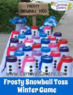 DIY Unique Winter Game Idea - Frosty Snowball Toss! Instead of white felt the jars could be spray painted white.