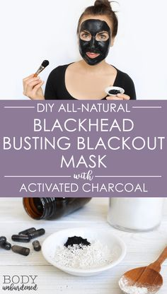 This homemade all-natural Blackhead Busting Blackout face mask helps naturally and gently clear skin and banish acne with 2 powerful ingredients: activated charcoal and bentonite clay. Plus it's so simple to make! via @bodyunburdened