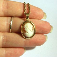 Vintage Left Facing Cameo Pendant Gold on Sterling Silver 925 Genuine Carved Shell Orange White Small Portrait