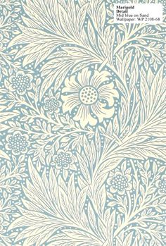 William Morris Detail Mid blue on Sand WP2108-68