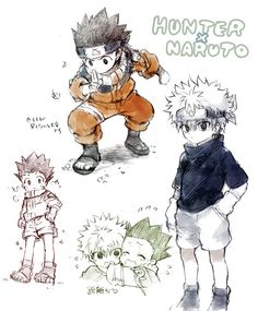 Gon and Killua Hunter X Naruto - oh my gosh I love this so much